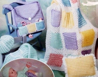 Baby Layette On the Double, Crochet Layette patterns using Double Ended Crochet Hooks