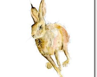 Hugo Hare Greeting Card - Blank Inside, Animal Card, Woodland Theme