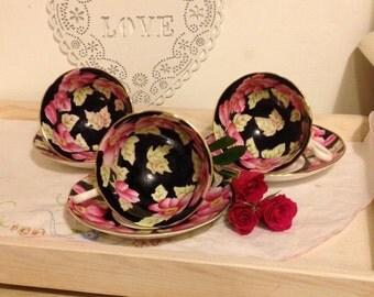 Vintage English bone china hand painted tea cup and saucer made by Salisbury china. TS090
