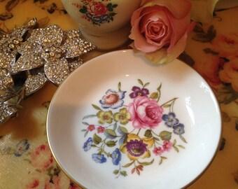 Vintage Royal Worcester Pretty Floral Pin Dish. Vintage.