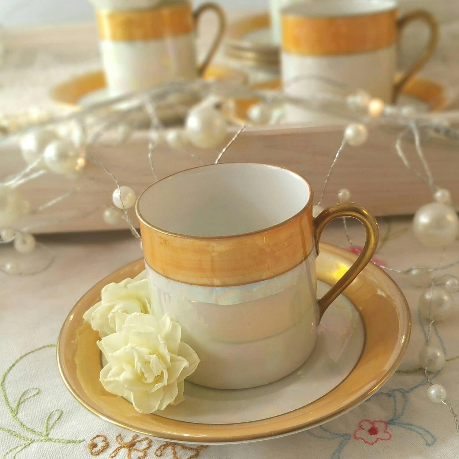 Vintage Espresso Coffee Cups And Saucers Set Of By