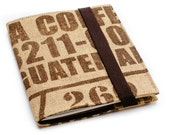 Coffee sack notebook journal upcycled handmade A5 size