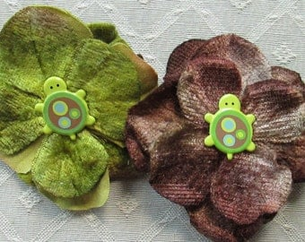 Turtle Mini Hair Flower Clips/Pins or Shoe Clips