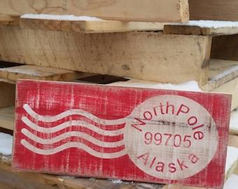 Vintage North Pole postage sign
