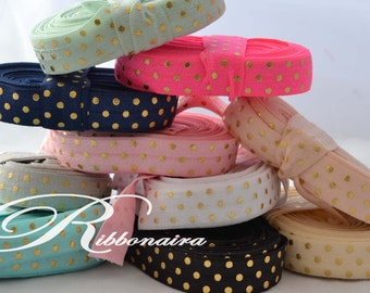 "Gold Dots  FOE..Mix &MATCH Fold Over Elastic 1,5 or 10 yards , 5/8"" Fold Over Elastic, Foil  Elastic ,  headband , hair ties"