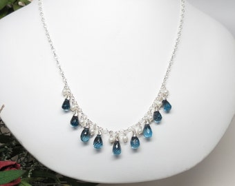London Blue Topaz With Pearls Necklace, Blue Gemstone Necklace In Sterling Silver, December Birthstone Jewelry, Bridal Necklace,17-19 Inches