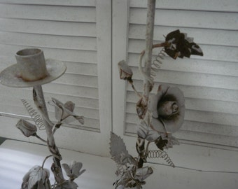 Pair of Shabby Distressed Candle Holders Wedding Accessories