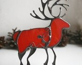 Christmas deer decoration, #red winter deer#, stained glass ornament, stained glass suncatchers