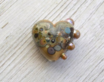 Handmade Lampwork Glass Heart Bead - 'Organic Heart' SRA - 1 bead - E52