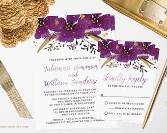 Purple & Gold Floral Wedding Invitations and RSVP Cards - Printed Wedding Invitations and RSVPs - Printable Wedding Invitations and RSVPs