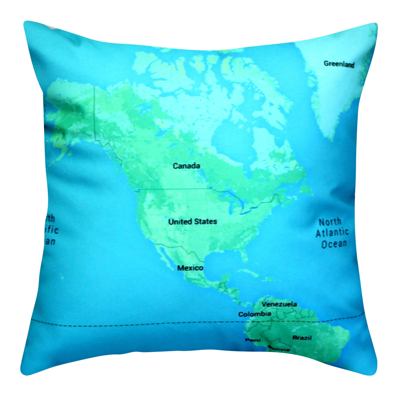 Throw Pillow Covers Made In Usa : North America Map Throw Pillow with pillow insert Invisible