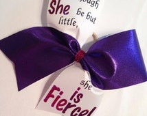 Cheer bow She is fierce  green red blue gold black purple pink etc fabric choose color