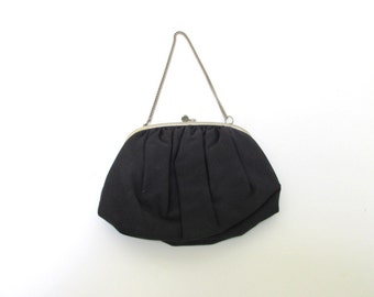 Vintage Navy Blue Handbag by Ingber / Mid Century Evening Bag with Silver Chain Handle / 1950s Small Purse