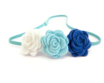 Felt Flower Elastic Headband/ Thin Elastic Headband/ Blue Elastic Headband/ Blue Flower Headband
