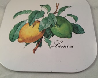 Vintage Lemon Trivet Hot Plate Spoon Rest