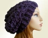 PURPLE SLOUCHY HAT Crochet Knit Chunky Slouchy Beanie Wool Slouch Beany Dark Purple Slouchy Women Hats Accessories Teen Winter Hat Gift Idea