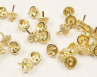 MARKDOWN, Pearl cap, S61-G3, 10 pcs, Bead cap with peg, Gold plated brass, Jewelry making, Jewelry component