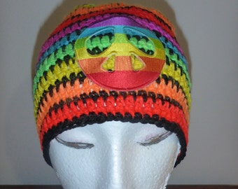 Peace symbol beanie in rainbow colours
