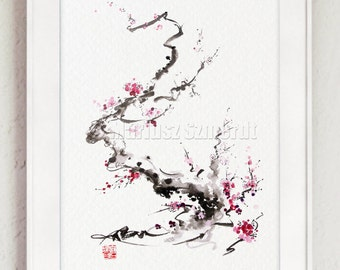 Cherry Blossom Branch Japanese Cherry Tree Japan Style Home Decor Poster
