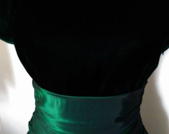 Go 80s in this Green Velvet and Taffeta Party Dress