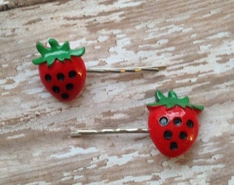 Set of 2--- Red Strawberry Hair Pins Silver Bobbypins (Toddler,Girl,Childrens)