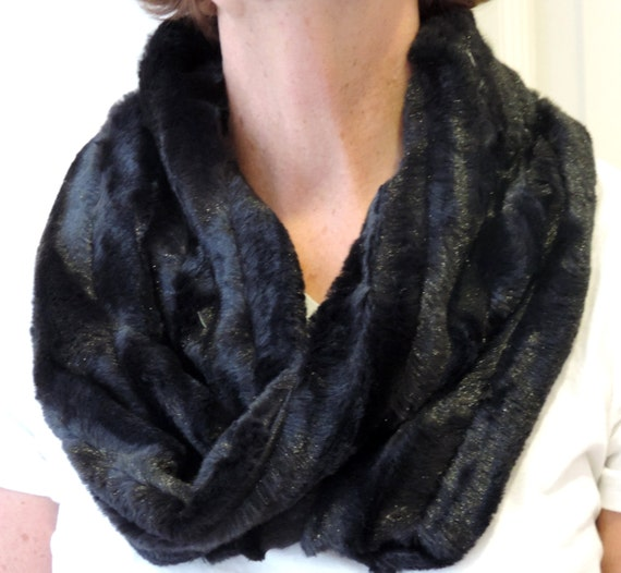 items similar to faux fur infinity scarf black mink on etsy