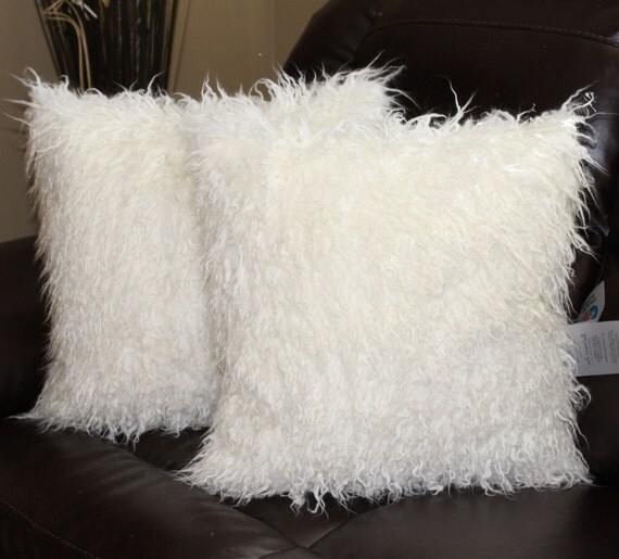 Faux fur curly mongolian white pillow cover 18 x 18 in set for White faux fur pillow
