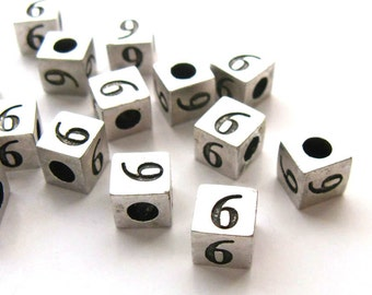 Number 6 Cube beads, Silver Cube Number Beads, Number spacer Beads, Numeric Beads, Bead number six, 7x7mm, 5 pcs