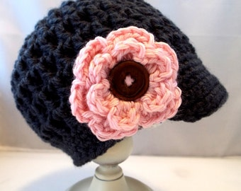 Baby Girl Chunky Newsboys Hat with Pink Flower Size 0-3 months