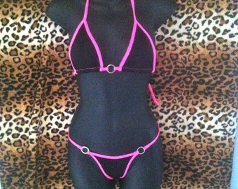 neon pink and black thong bikini ,micro swimwear ,g string ,t back ,exotic swim suit ,stripper outfit ,exotic dancer