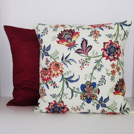 Items similar to Floral Burgundy Pillow Cover Navy Blue Green Red Ivory Decorative Throw Accent ...