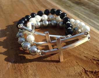 Silver cross stretch bracelet - white, grey or black pearl beads with silver spacers - fits most wrist sizes - custom fits available