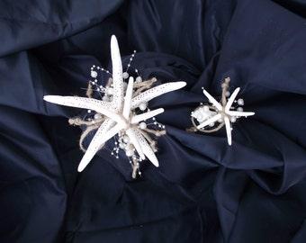Starfish simple bouquet, Affordable beach bouquet, beach bridesmaid wedding bouquet, seashell bouquet, starfish bouquet, aqua wedding