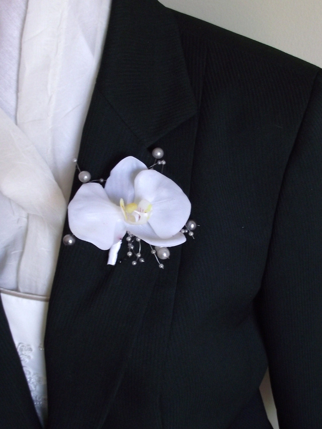 Wedding boutonniere orchid boutonniere off white groom