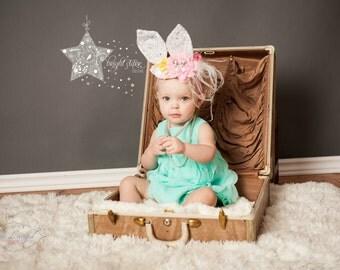 pink rabbit ear hat - baby girl flower headbands - lace ears - baby headband with flowers - baby lace headband - Bunny ears headband