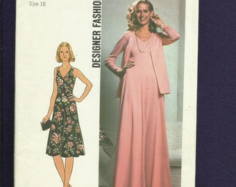 Vintage 1976 Simplicity 7793 Chevron Bodice Evening Dress with V Neck and Jacket Size 16 UNCUT