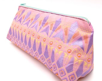 Beautiful Shimmering lilac and pastel pink Make-up bag / purse with pastel yellow and pink detail