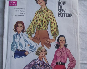 1969 SIMPLICITY Blouse Pattern #8299,Size 10 Misses Long Sleeve Blouse Pattern,SEWING Pattern,Ladies Clothing Fashions,Blouse with Ascot