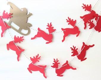 Christmas Decor, Christmas Garland, Mantle Decor, Holiday Decor, Reindeer Garland, Seasonal Decor, Country Christmas Decor, Photo Prop