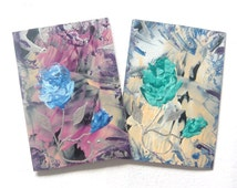 """TWO 4"""" x 6"""" Encaustic Art Abstract Rose Impression Greeting Cards 002."""