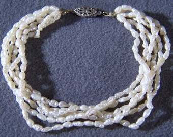 Vintage Sterling Silver  6 strand cultured pearl Bold  Tennis Style Bracelet     W