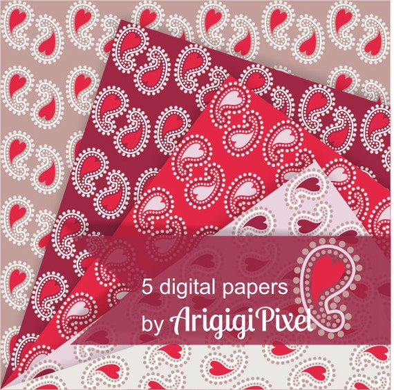 red paisley papers - digital papers paisley - Valentine paisley - bandanna papers - country chic scrapbooking papers