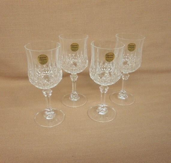 cristal d 39 arques longchamps 4 wine glasses 24 lead. Black Bedroom Furniture Sets. Home Design Ideas