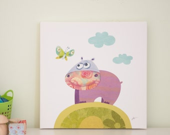 childrens wall art, nursery canvas art, animal nursery, baby room decor
