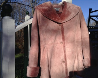 Clearance Sale! 10.00 off - Easy Care  Suede Faux Winter Coat in pink