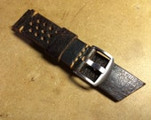 Custom for Connor Wong - 22mm, Black Crackle, Vented Watch Strap