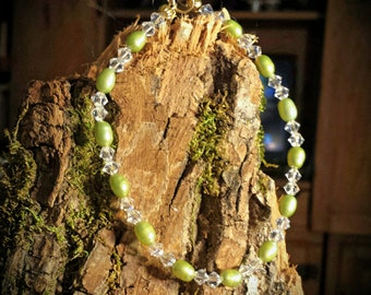 Tiny Light Olive Green Freshwater Pearls and Clear Swarovski Crystals 8 Inch Beaded Bracelet