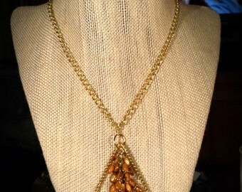Dark Gold Colored Mother of Pearl Shell Ovals in Gold Wire Wrapped Teardrop Pendant on 20 Gold Chain MOP Shell Necklace with Earrings