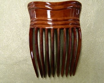 Vintage large up do chignon comb red copper celluloid made in France