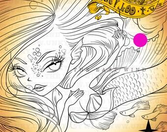 Digital Stamp- 'Lucy Loo' Mermaid- 300dpi JPEG/ PNG -MAC0062m